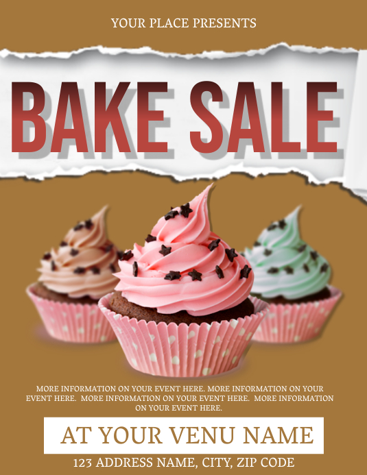 Bake Sale Fundraiser Event Flyer Template 传单(美国信函)