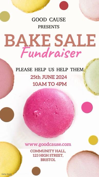 Bake Sale Fundraiser Video Template 数字显示屏 (9:16)
