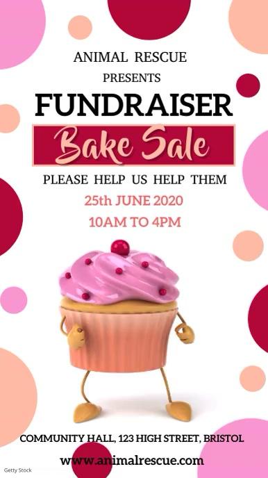 Bake Sale Fundraiser Video Template Tampilan Digital (9:16)