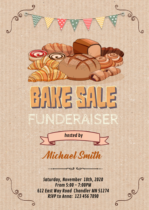 Bake sale party invitation A6 template