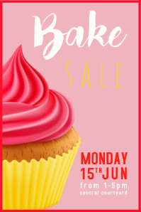 Bake Sale Pink Poster template