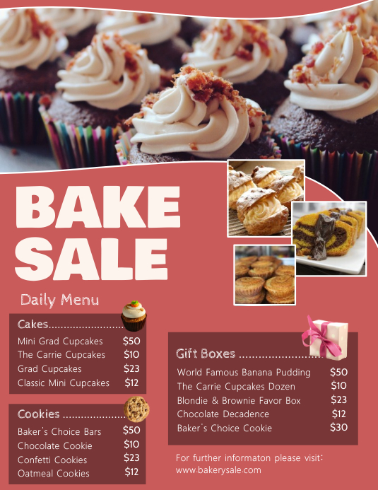 copy of bake sale pricelist flyer template