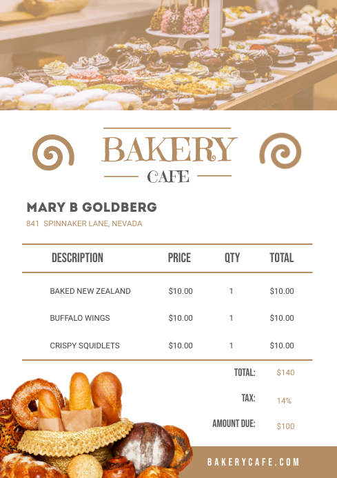 Bakery Cafe Sales Invoice