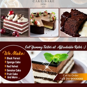 BAKERY CAKE SHOP FLYER POSTER AD template