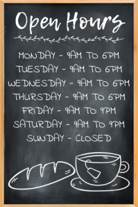 Bakery Coffee Shop Open Hours Poster Template