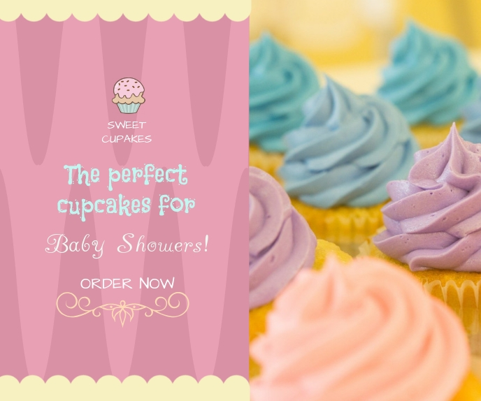 Bakery Cupcake Advertisement Online Ad Grote rechthoek template
