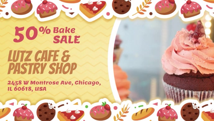 Bakery Discount Promotion Facebook Cover Video Facebook-omslagvideo (16:9) template