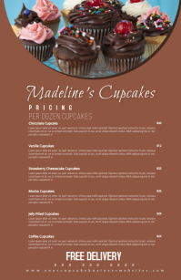 Bakery Menu Bakery Pricing List Halve pagina breed template