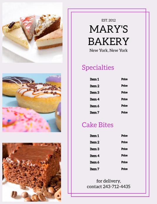 Bakery Menu Flyer (US Letter) template