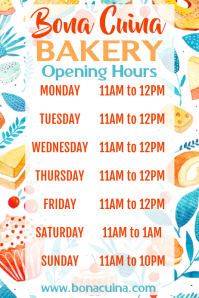 Bakery Open Hours Poster Template