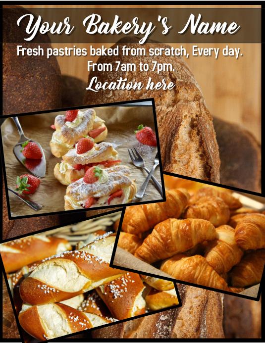 bakery pastry Løbeseddel (US Letter) template
