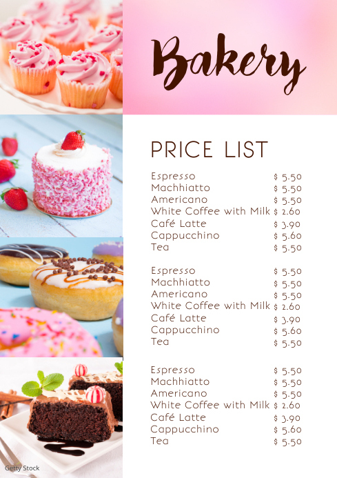 Bakery Price Pricing List Menu Offers Card A4 template
