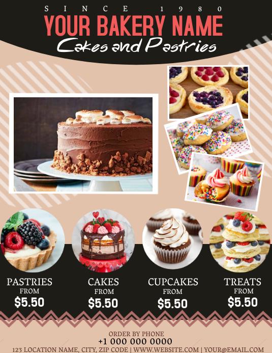 Bakery Shop Flyer template Løbeseddel (US Letter)