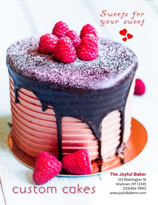 Bakery valentine's Day Cake Shop Bake Sale Flyer Template