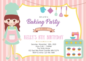 Baking birthday party invitation A6 template