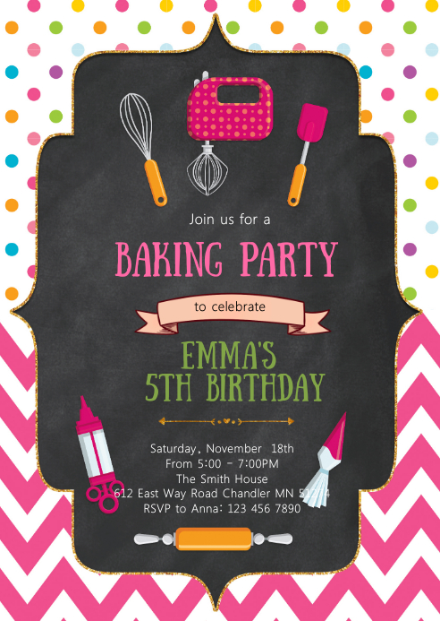 Baking birthday party invitation