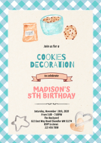 Baking Cookies Making party invitation A6 template