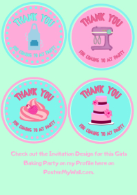 Baking Party - Thank you Cupcake Toppers