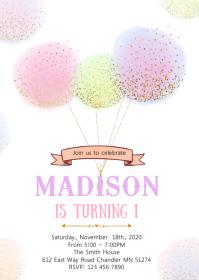 Balloon 1st birthday invitation