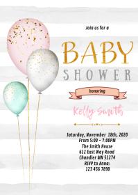 Balloon baby shower birthday invitation