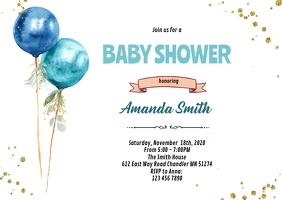 Balloon boy shower birthday invitation A6 template