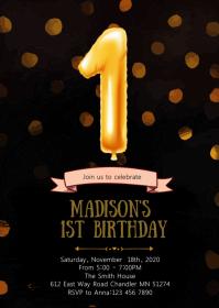 Balloon Confetti first birthday invitation