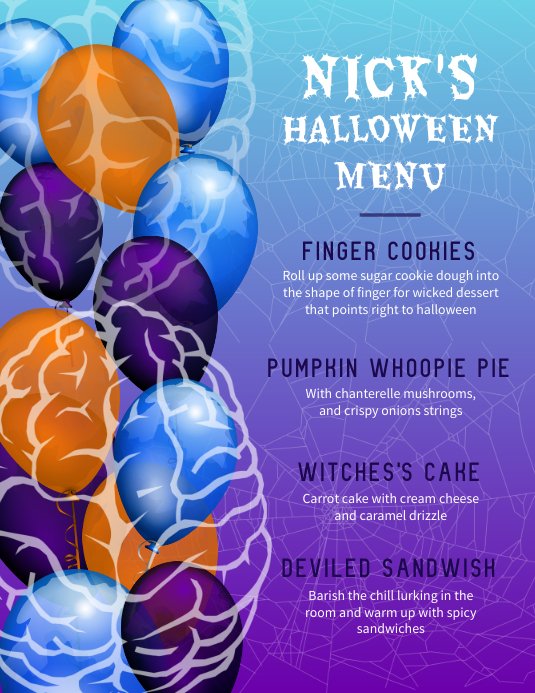 Balloon Flyer Halloween Menu