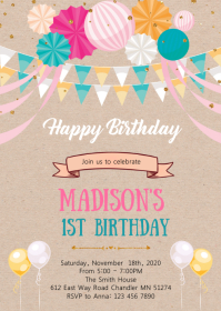 Balloon happy birthday party invitation A6 template