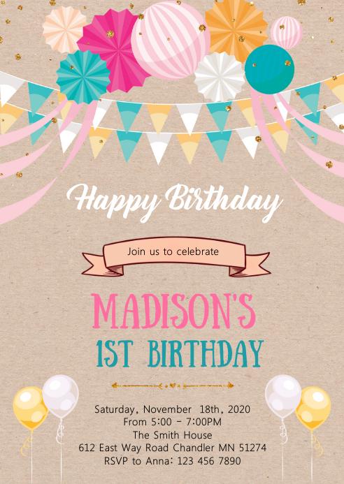 Balloon happy birthday party invitation