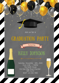 Balloon Theme graduation invite A6 template