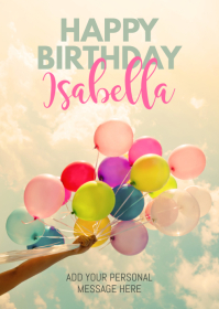 Balloons Happy Birthday Greeting Card A6 template