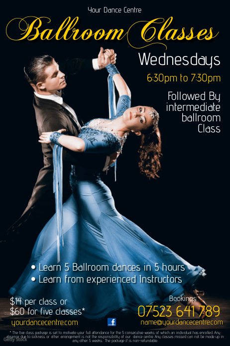 Ballroom Classes Flyer Template Postermywall