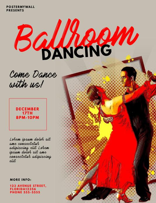 Ballroom Dancing Flyer Design Template Løbeseddel (US Letter)