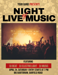 Band and Concert Flyer, Live Music, Jazz Night, Music template