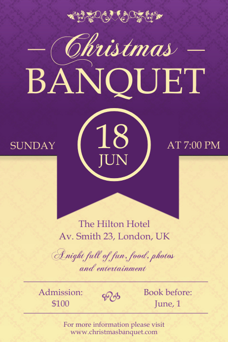 banquet hall party invitation poster template