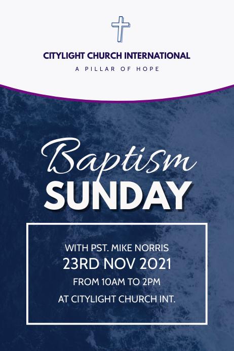 baptism church flyer Plakat template