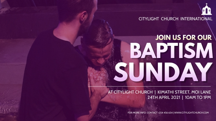 baptism church flyer Digitalt display (16:9) template