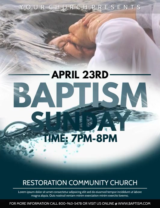 Baptism ใบปลิว (US Letter) template