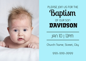 Baptism invitation card Postcard template