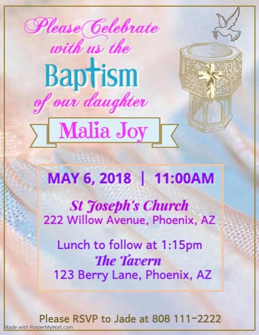 Taufe Einladung Flyer Vorlage Vorlage Postermywall