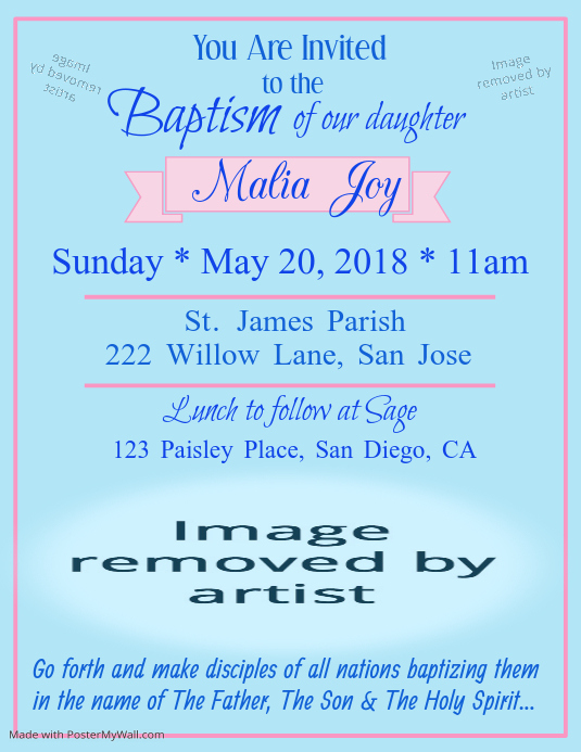 Baptism Invitation Template Postermywall