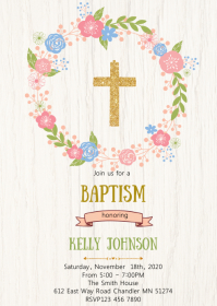 Baptism party invitation A6 template