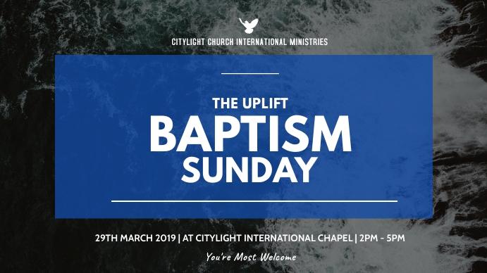 BAPTISM SUNDAY church flyer Digitalt display (16:9) template