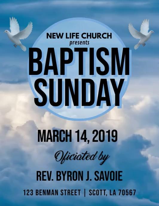 BAPTISM SUNDAY CHURCH VIDEO FLYER TEMPLATE ใบปลิว (US Letter)