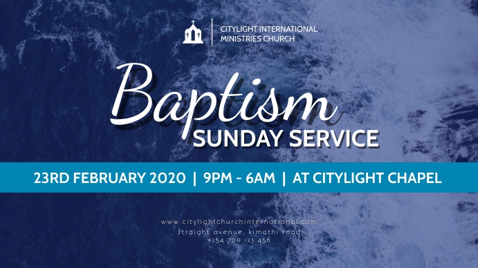 Baptism sunday flyer Digitalt display (16:9) template