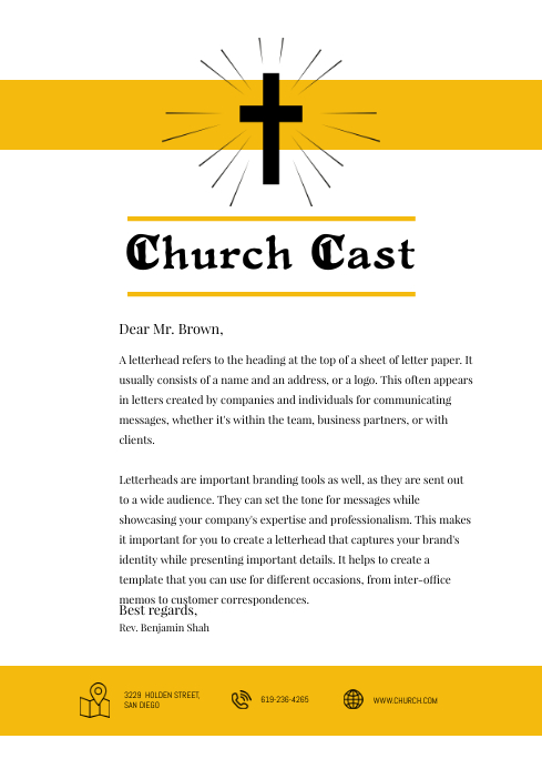 Baptist Church Letterhead Template Yellow Postermywall