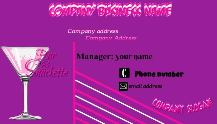 Bar & snackette Business Card Carte de visite template
