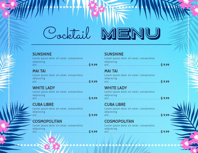 Bar Cocktail Menu Template Pamflet (Letter AS)