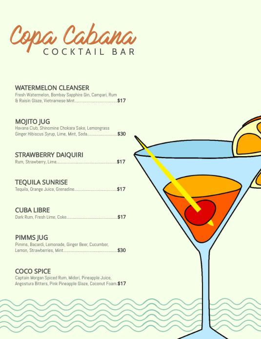 Bar Cocktail Menu Template 传单(美国信函)