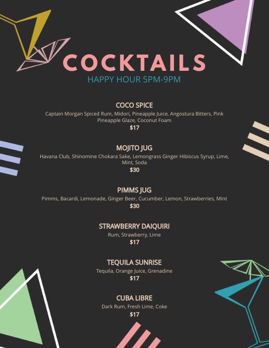Bar Cocktail Menu Template